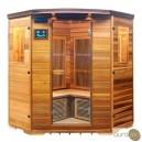 Sauna infrarouge de quatre personnes en cèdre rouge. Radiants en carbone