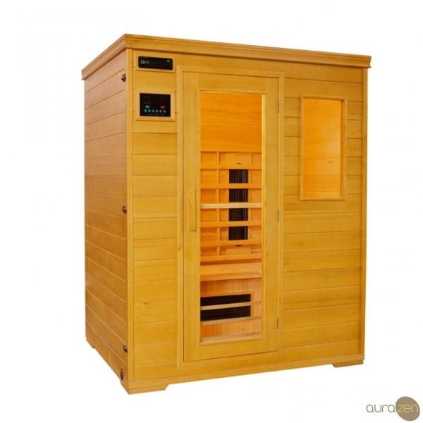 Sauna infrarouge de trois personnes en hemlock et radiants en carbone aur - Sauna infrarouge bienfaits ...