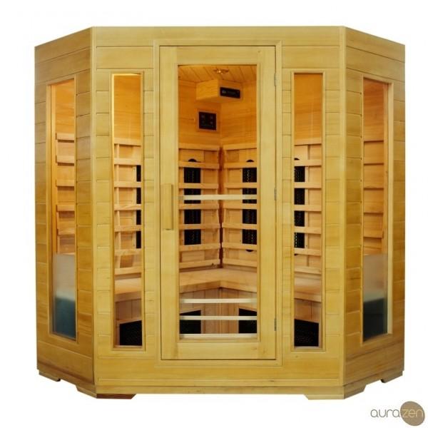 sauna infrarouge de quatre personnes en hemlock et radiants en carbone aurazen. Black Bedroom Furniture Sets. Home Design Ideas