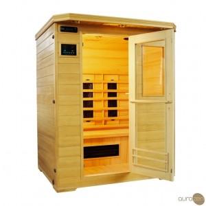 Sauna infrarouge d'une personne à radiant en céramique et en bois hemlock