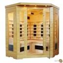Sauna infrarouge de trois personnes à radiant en céramique et en bois hemlock